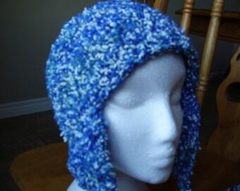 Crochet Adult Earflap Hat Variegated Textured Acrylic Yarn