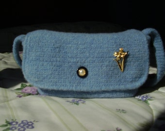 Accessory Colour Worn Denim Felted Purse