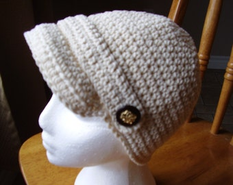 Natural coloured crochet peaked cotton hat