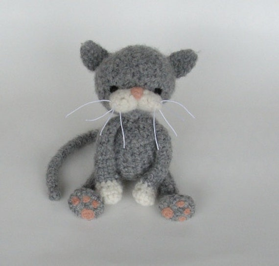 Crocheting For Cats : PATTERN -PDF- Gray Cat With White Paws Crochet and Felt Pattern by ...