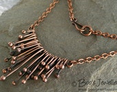 Copper raindrops necklace - drips of molten copper