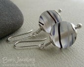 Sterling silver earrings with frosted glass beads with painted swirls