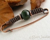 Antiqued copper kilt pin: brooch with blue green Indian fancy jasper and spiral coils of antiqued copper