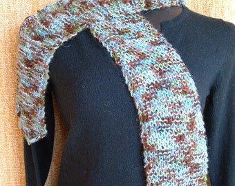 SUPER SALE - Blue Woods - 54 inch Long Knitted Scarf - FREE SHIPPING