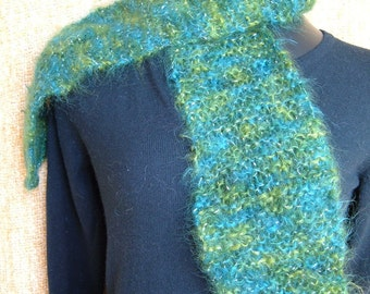SUPER SALE - Green Silver - 54 inch Long Knitted Scarf - FREE SHIPPING