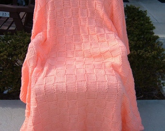 Peach Checkerboard Basket  -  60 inch x 70 inch -  Knitted Afghan, Blanket, Throw - FREE SHIPPING