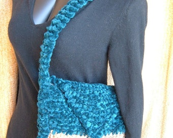 Super Sale- Teal and Jute - 12 inch x 9 inch - Knitted Purse - FREE SHIPPING