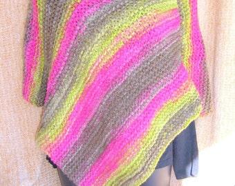 SUPER SALE - Santa Fe Trails -  20 inch x 30 inch Knitted Poncho - FREE SHIPPING