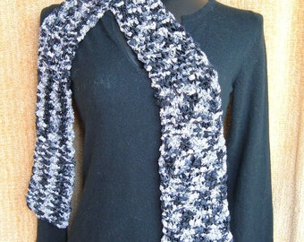 SUPER SALE - Black Tie - 75 inch Long Knited Scarf - FREE SHIPPING