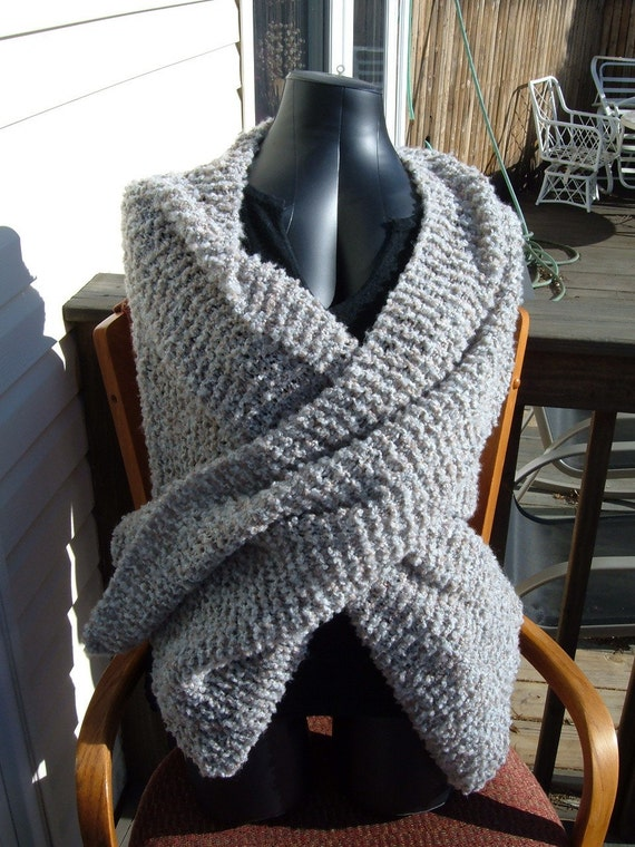 SUPER SALE - Slate Shades - 25 inch x 85 inch Knitted Shawl - FREE SHIPPING