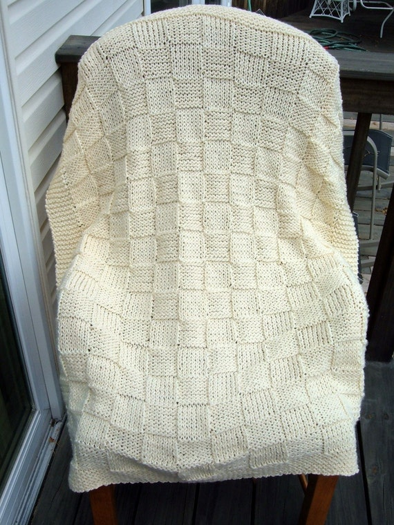 Super Sale - Beautiful Baby Cream Checkerboard Basket - 35 inch x 45 inch  - Knitted Baby Blanket - FREE SHIPPING