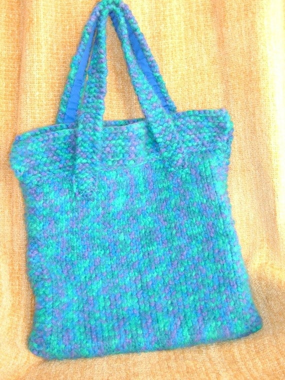 SUPER SALE - Winter Green Mountains - 19 inch x 18 inch Knitted Tote Bag - FREE SHIPPING
