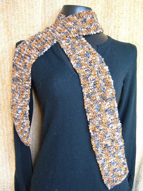 SUPER SALE - Shimmering Granite - 66 inch Long Knitted Scarf - FREE SHIPPING