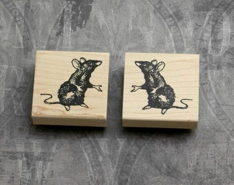 Alice in Wonderland Set of 2 Dormice Wood Mounted Rubber Stamps