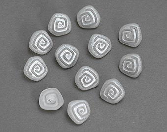Silvery Swirl Plastic Shank  Buttons 12 per pack