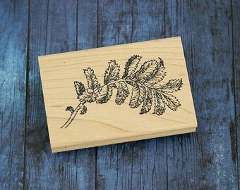 Leafy Branch Wood Mounted Rubber Stamp