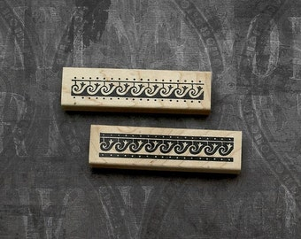 Wave and Flower Borders Set of 2 Wood Mounted Rubber Satmps