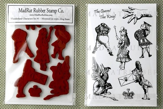 Alice in Wonderland Characters Set 1 - 8 Rubber Stamps on Static Cling Mounts