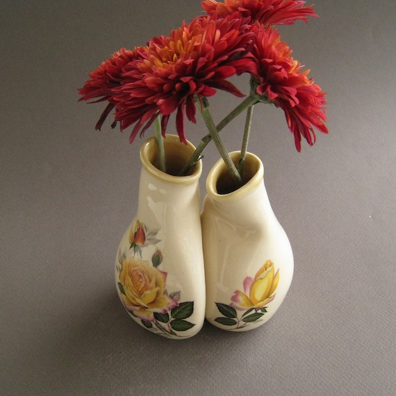 Yellow Rose Vase Set, Unique wedding, engagement or anniversary gift