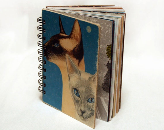 We are Siamese If You Please - Wire-Bound Recycled Art Journal