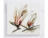 Magnolias Art Block - 5x5 Canvas Print on Wood Frame  - Impressionist Style- Wall Art - Home Decor