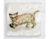 Cat Art - Cat with Ball - Nursery Art - Cat Canvas Print on 5x5 Art Block - Here, Kitty, Kitty - Cat Portrait - Kid's Wall Art - Home Decor