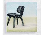 Chair Art - Furniture Art - Eames Low Wood Chair  -Canvas Print on 5x5 Art Block - Chair Of The Century - Designer Chair Print  - Wall Art