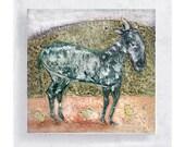 Animal Art - Donkey Canvas Print on 5x5 Wood Frame - Henry -  Nursery Wall Art - Kids Room Wall Decor  - Whimsical Art