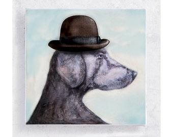 Dog Art - Weimaraner with Bowler Hat - Canvas Print on 5x5 Art Block - Jake Magritte - Dog Portrait - Kids Room Decor - Children Art