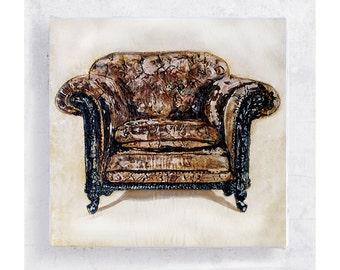 Furniture Art - Chair Art - Chair Print - Big Brown Armchair Canvas Print  on 5x5 Art Block - Man's Best Friend - Wall Art - Home Decor