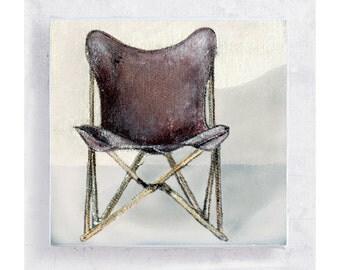 Chair Art -The Original Folding Chair - Tripolina Chair Portrait  Canvas Print on 5x5 Art Block - Retro Wall Decor - Folding Butterfly Chair