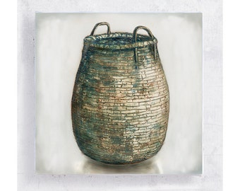 Basket  Art - Realism Still Life - Basket Print on Canvas - 5x5 Art Block - Country Rustic Wall Art - Cottage - Farm House Home Decor