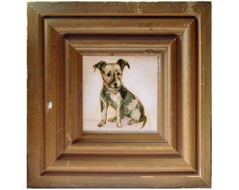 Dog Art -  Framed Jack Russell Terrier Print - The little Big Dog - Canvas Print - Architectural Salvaged Wood - Nursery - Kids Wall Decor