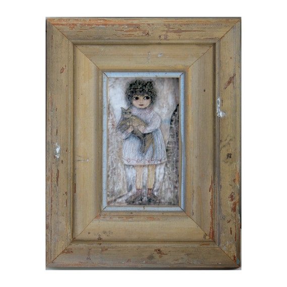 Little Girl with Cat Portrait -  Isabel with Kitty - Canvas Print Framed in Reclaimed Antique Wood Moulding