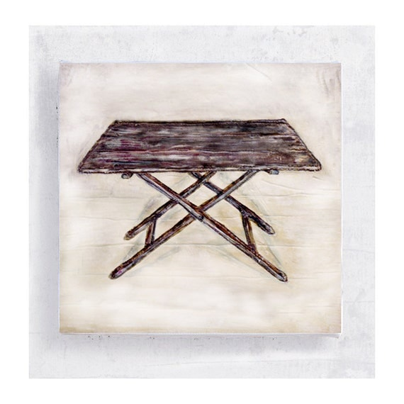 Furniture Art - Primitive Table Art - Canvas Print on 5x5 Art Block - Not A Table No.2 - Still Life - Rustic Wall Art - Country Decor