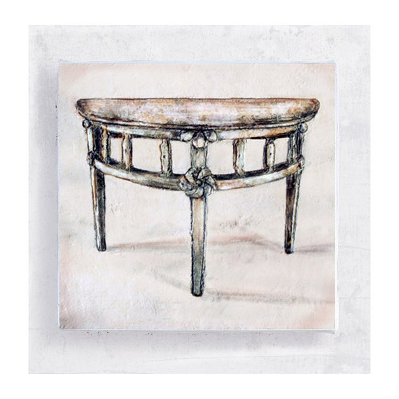 Furniture Art - Art Print - Demi - Lune Table Painting - Canvas Print on 5x5 Art Block - Antique Furniture Art - Rustic Home Decor
