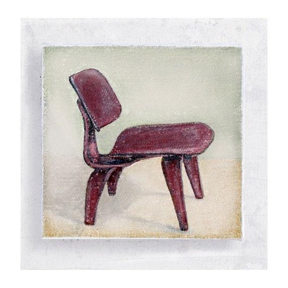 Chair Art - Chair Print - Mid Century Modern - Eames Chair  - 5x5 Canvas Print Block - Retro Chair Portrait - Loft Wall Art - Dorm Decor