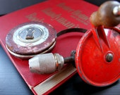 Handyman Gift Set - Vintage Hand Drill, Tape Measure, and 1951 Book - tool collectors Mad Men fans