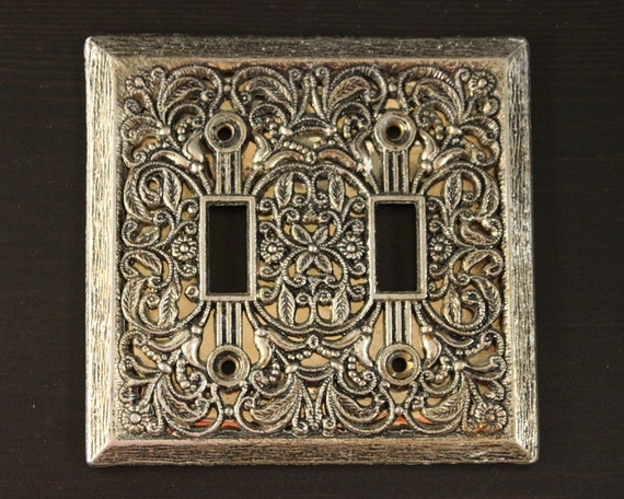 Vintage Double Light Switch Plate Cover Ornate 2 By Jillhannah