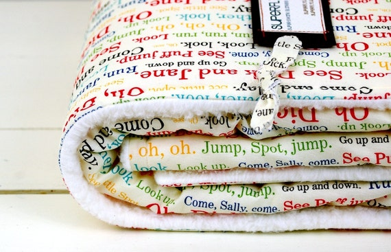 baby blanket, vintage-inspired dick and jane school reader, typophile and parent-friendly.