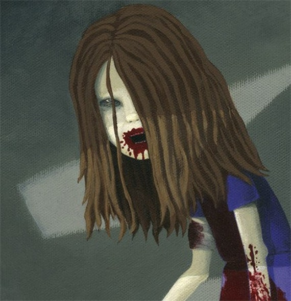 Night of the Living Dead zombie girl art print Poor by TimmyK