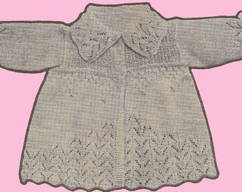 Dainty Baby's Sweater, Bonnet and Booties Knitting Pattern Instant Download
