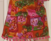 Girls Skirt with Puff Ball Trim - Size M (10) (IN-Sz.10)