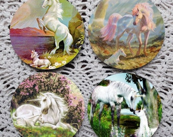 Unicorns, The Next Generation --  Unicorn Mousepad Coaster Set