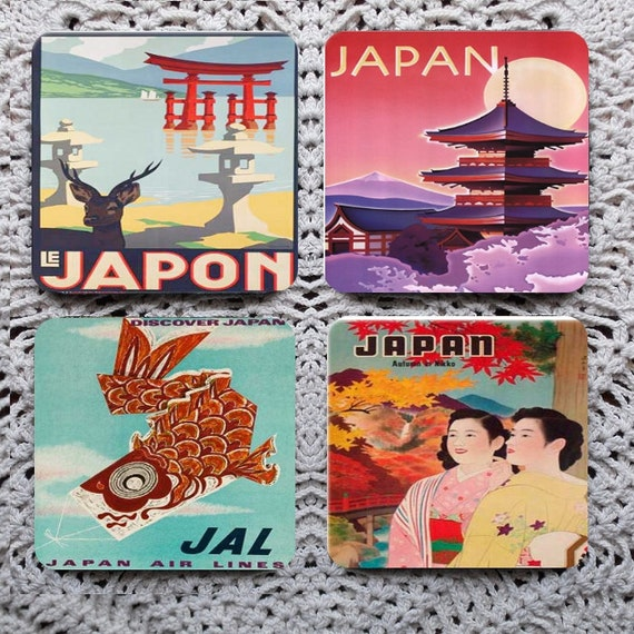 Japanese Journey -- Vintage Travel Posters Mousepad Coaster Set