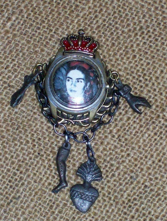 Reserved Now Half Off Retail Wearable Art Frida Kahlo Queen Of Art Pin Brooch Pendant Art Doll Jewelry Milagro Artsy Handmade
