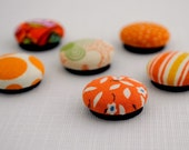 Orange Fabric Covered Button Magnets