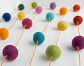 Rainbow Wool Ball Garland