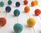 Blue, Orange and Yellow Wool Ball Garland
