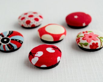 Red Fabric Covered Button Magnets